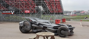 Batmobile in stadium